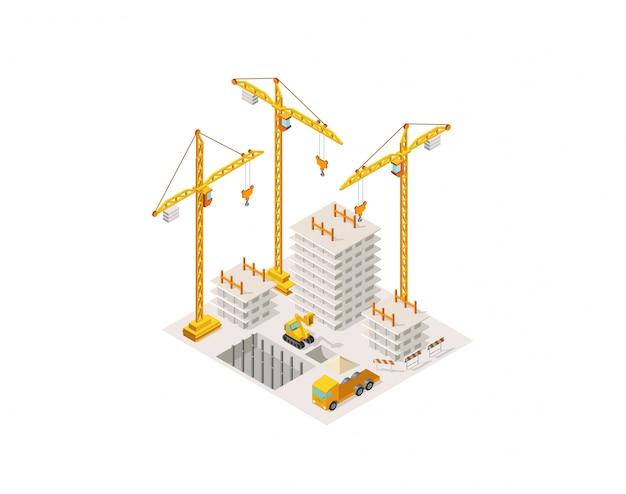 Bau, der ein haus isometrisch errichtet. hebekran. prozess des konkreten rahmenbaubereichs des baus.