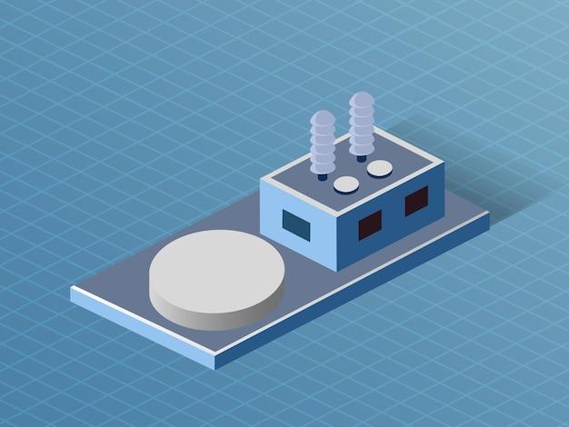 Bau der isometrischen 3d-dimensionalen fabrikindustrie der modernen architektur des stadtbaus.