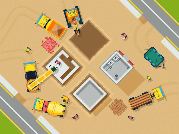Bau-draufsicht-illustration