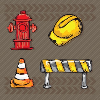Bau-icons (harte kappe verkehrshütchen straßenschild hydrant)