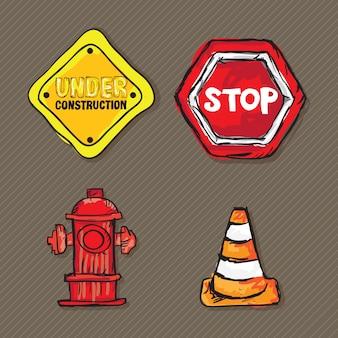 Bau-icons (verkehrszeichen leitkegel straßenschild hydrant)