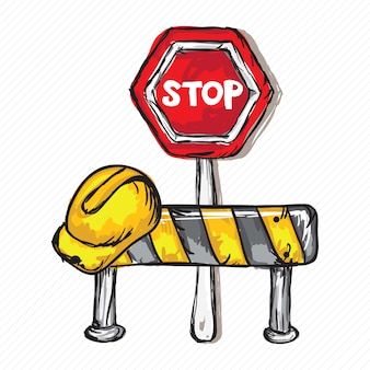 Bau-ikonen (harte kappe stop-verkehrszeichen