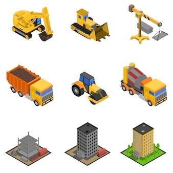 Bau-isometrische icons set
