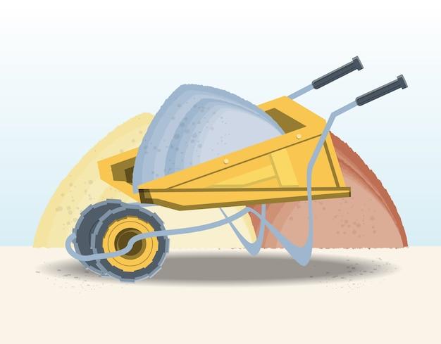 Bau schubkarre mit sand