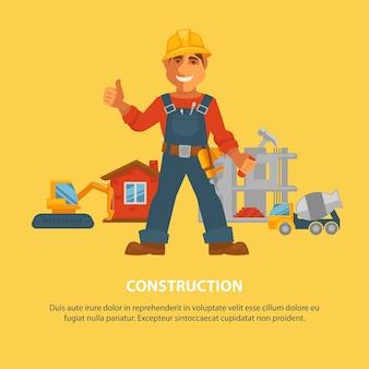Bau- und hausbauarbeiterausrüstung