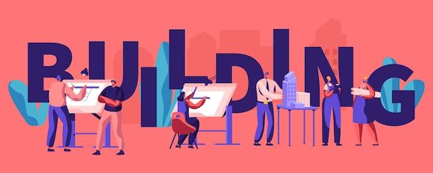 Bau- und technikkonzept-poster. architekten und ingenieure arbeiten an projekten, malen auf blaupausen, präsentieren ein hausmodell. banner, flyer, broschüre. flache vektorillustration der karikatur