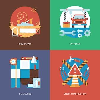 Bau von carft-, service- und dekorationssets für web- und mobile apps. illustration für holzhandwerk, autoreparatur, fliesenverlegung und im bau befindliches schild.