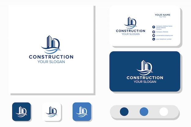 Bau von gebäuden und strandwellen logo design