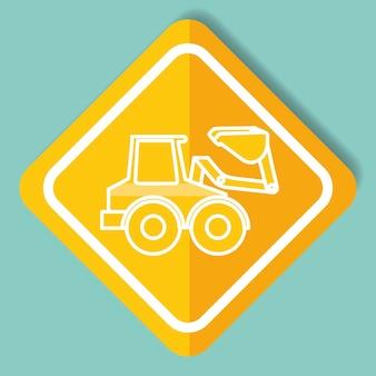 Bau zeichen bulldozer maschinerie bild vektor-illustration