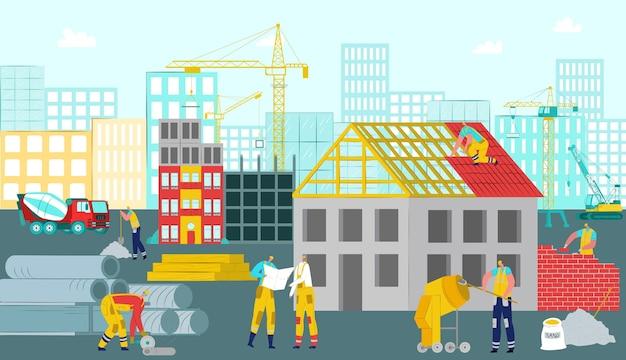 Bauarbeiten. arbeiter menschen charakter am standort konzept mit gebäudeausrüstung kran