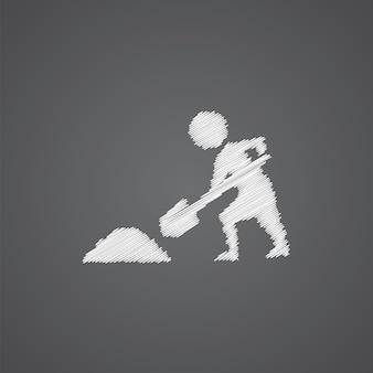 Bauarbeiten skizzieren logo-doodle-symbol auf dunklem hintergrund isoliert