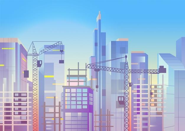 Bauarbeiten, stadtbild mit kränen und wolkenkratzern, wohnungsbau