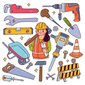 Bauarbeiter-ausrüstung im doodle-stil