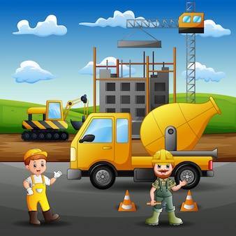Bauarbeiter bei der arbeit mit kran und maschine