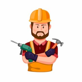 Bauarbeiter, der bohrer und hammer in der hand hält. professioneller baumeister mit zeichenfigur des arbeitswerkzeugs in der karikaturillustration auf weißem hintergrund