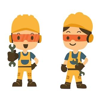 Bauarbeiter, der einen schlüssel oder einen schlüssel hält.