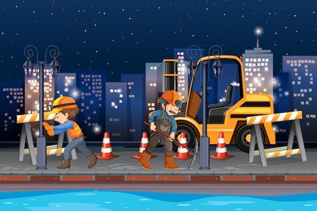 Bauarbeiter, der nachts arbeitet