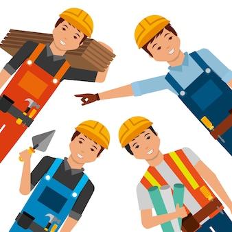 Bauarbeiter, die gelbe sturzhelm differents uniform und werkzeuge tragen