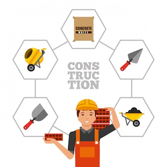 Bauarbeiter, die ziegelsteine und werkzeuge halten