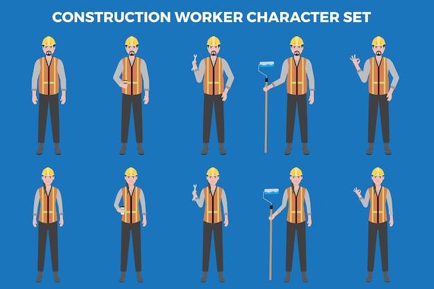 Bauarbeiter illustration set