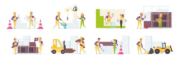 Bauarbeiter in schutzhelmen und uniform in verschiedenen szenen und situationen.