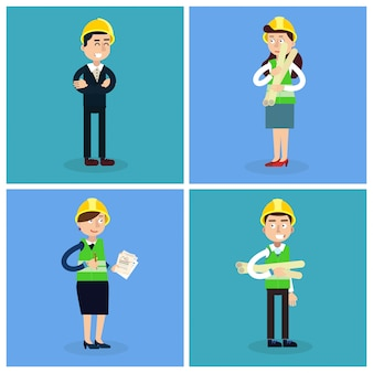 Bauarbeiter. ingenieur und projektleiter. bauingenieurwesen. vektor-illustration