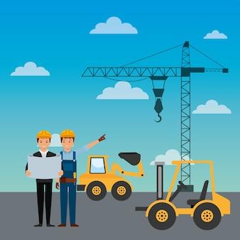 Bauarbeiter ingenieur vorarbeiter lkw gabelstapler bagger kran