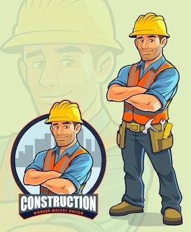 Bauarbeiter maskottchen design für bauunternehmen