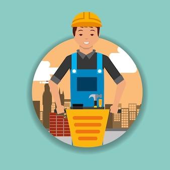 Bauarbeiter mit jackhammer ausrüstung