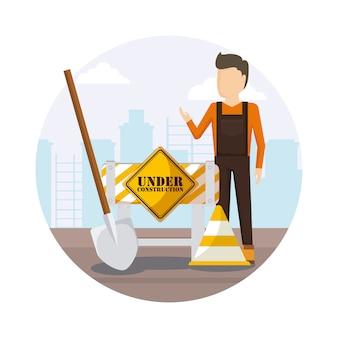 Bauarbeiter mit schaufel