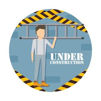 Bauarbeiter mit treppen