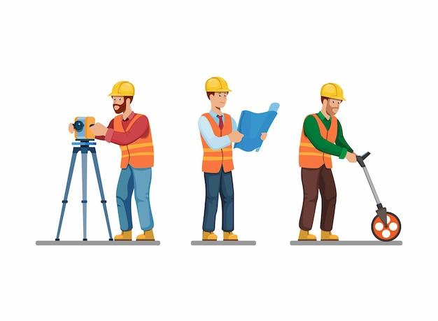 Bauarbeiter set architekt und ingenieur vermessung und halten blaupause pose aktivität