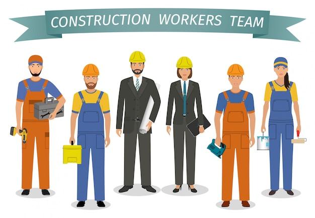Bauarbeiter-team. arbeits- und arbeitstag. gruppe industrielle leutezeichen, die zusammen stehen.