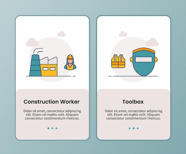 Bauarbeiter-toolbox-kampagne für das onboarding mobiler apps vorlage