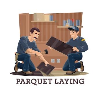 Bauarbeiter verlegen parkett, bodenbelag