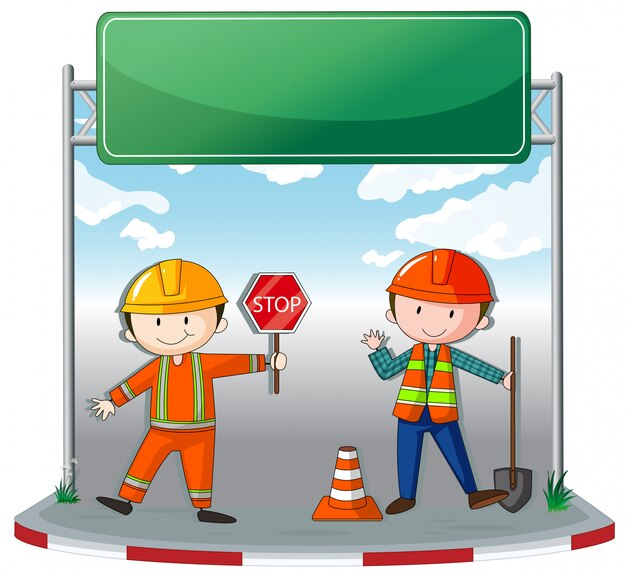 Bauarbeiter vor ort