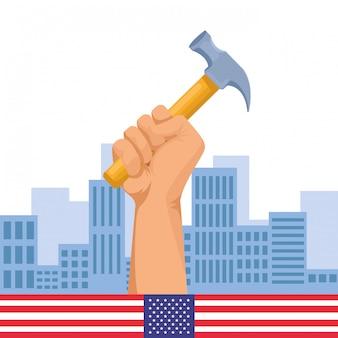 Bauarbeiterhandholdingwerkzeug