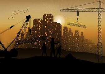 Bauarbeiterschattenbild bei Sonnenuntergang