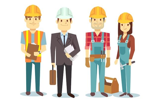 Bauarbeiterteam-vektorerbauer-charaktergruppe