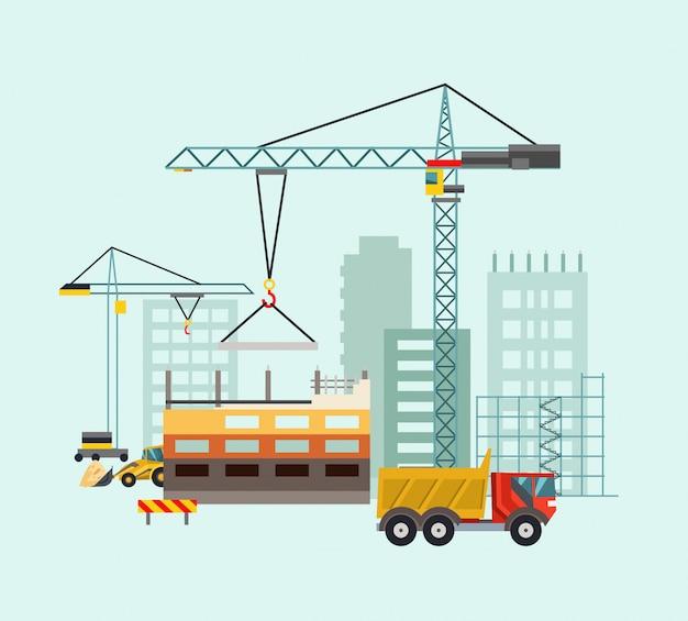 Bauarbeitsprozess mit häusern und baumaschinen. vektor-illustration