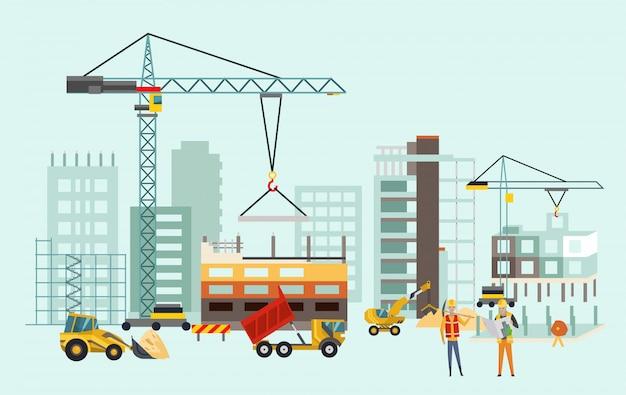 Bauarbeitsprozess mit häusern und baumaschinen