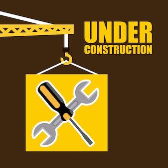 Bauauslegung über brauner hintergrundvektorillustration