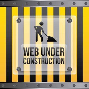 Bauauslegung über gelbem und schwarzem streifenhintergrund vec