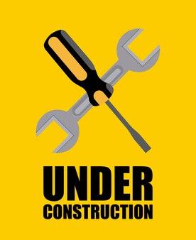 Bauauslegung über gelber hintergrundvektorillustration