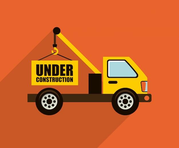 Bauauslegung über orange hintergrundvektorillustration