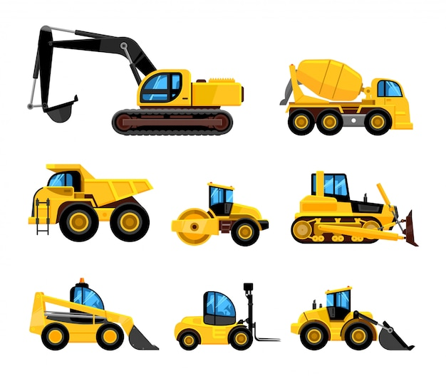 Baue maschinen. schwere maschinen fahrzeuge große buldozer