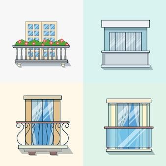 Bauelementsatz der linearen umrissarchitektur des balkons. flache stilikonen mit linearem strichumriss. farbsymbolsammlung.