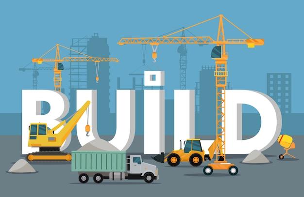 Bauen sie banner-konzept im flat style modern building