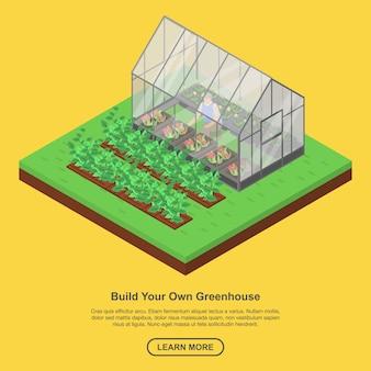 Bauen sie ihr gewächshaus-banner im isometrischen stil