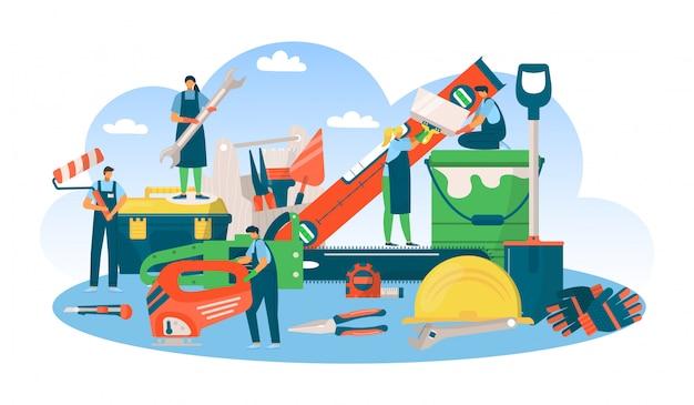 Bauen sie professionelles werkzeugkonzept, mann frau leute bei reparaturarbeit illustration. ausrüstung für die bauindustrie. ingenieurberufsdienst, baujob.